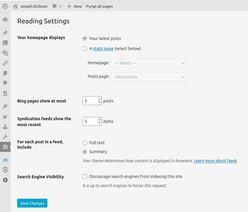 Reading Settings in the WordPress Dashboard
