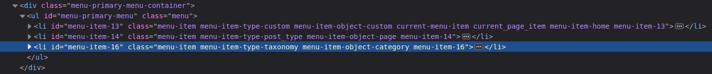 developer tools inspection of a WordPress menu.