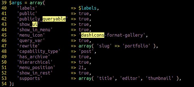custom post type arguments